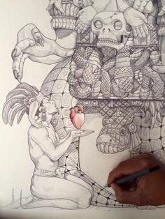 Mayan Tattoos, Aztec Culture, Aztec Warrior, Inka, Mexico Art, Aztec Art, Mesoamerican, Chicano Art, Indigenous Art