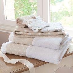 Serviette de bain en coton blanche et beige 70 x 140 cm SANS SOUCI