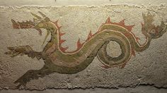 Mosaic with a ketos (sea monster) found at Caulonia (Monasterace) in the Casa del Drago, 3rd century BC, Monsters. Fantastic Creatures of Fear and Myth Exhibition, Palazzo Massimo alle Terme, Rome