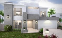 The Tove Collection: With a distinctly modern silhouette, the Tove outdoor… Beautiful Architecture, Contemporary Architecture, Interior Architecture, Exterior Paint Schemes, Exterior House Colors, House Front Design, Modern House Design, Dream Mansion, Storey Homes