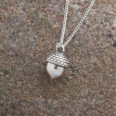 Tiny silver finish acorn pendant