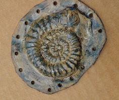 Ammonite Fossil Ceramic Start for Pine Needle Basket 3D Blue Green