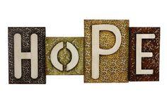 CONTEMPORARY ' HOPE BLOCKS ' METAL WALL ART