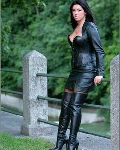 Gorgeous all leather outfit. Black Thigh High Boots, High Heel Boots, Leather And Lace, Leather Boots, Black Leather, Leder Outfits, Fetish Fashion, Leather Dresses, Leather Skirt