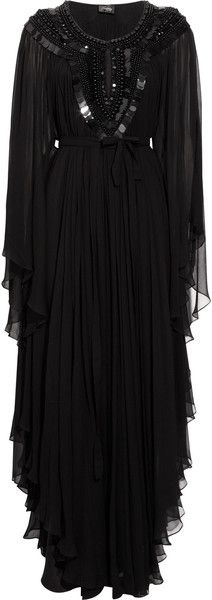 Temperley London Long Amberley Silkchiffon Kaftan in Black