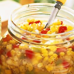 Zesty Corn and Bell Pepper Relish: Enjoy the flavor of fresh picked corn by capturing it in this colorful relish. This refrigerator relish tastes as good as old-fashioned home-canned pickle relish, but with lots less fuss. Pepper Relish, Corn Relish, Pickle Relish, Bell Pepper, Relish Recipes, Lime Recipes, Canning Recipes, Easy Recipes, Mild Salsa