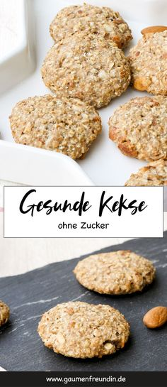 Healthy cookies with almonds and maple syrup - enjoyment without remorse-Gesunde Kekse mit Mandeln und Ahornsirup – Genuss ohne Reue Healthy biscuits with almonds and oatmeal for … - Healthy Biscuits, Healthy Cookies, Oreo Desserts, Healthy Desserts, Healthy Recipes, Cookie Recipes, Snack Recipes, Dessert Recipes, Recipes Dinner