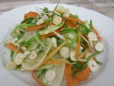 Snow Peas, Fennel, Carrot, Ginger and Hazelnut salad.