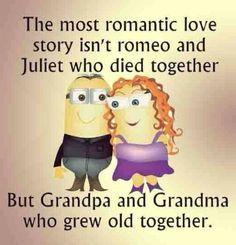 Love story, Romeo, Juliet, Grandpa, Grandma, old. 。◕‿◕。 See my Despicable Me  Minions pins https://www.pinterest.com/search/my_pins/?q=minions
