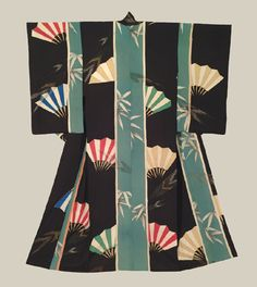 """Yuzen-dyed Kimono - Mid to late Meiji (1880-1911). An impressive silk hitoe (unlined) antique kimono featuring yuzen-dyed fan and bamboo motifs. 48"""" from sleeve-end to sleeve-end x 60"""" height. Red, yellow, green and blue fans are the predominant motif. The Japanese believe that the handle of the fan symbolizes the beginning of life and the bamboo ribs are for the roads of life going out in all directions.  The Kimono Gallery"""