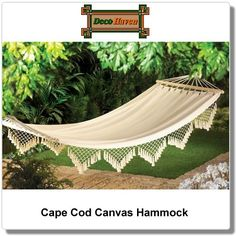 Cape Cod Canvas Hammock - Dreaming of the seaside? Let our comfy canvas hammock take you away! Recline in comfort in your favorite shady spot; such a lovely and luxurious way to enjoy a lazy outdoor afternoon.