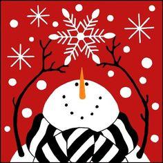 Snowman Gazing at Snowflake Christmas Rock, Christmas Canvas, Christmas Paintings, Christmas Signs, Christmas Projects, All Things Christmas, Holiday Crafts, Christmas Decorations, Christmas Ornaments