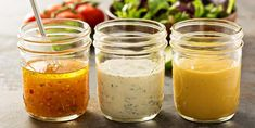 Try these vinaigrette and salad dressing recipes to make your green salad shine. They also taste great on grilled or roasted vegetables! Oil Free Salad Dressing, Vinaigrette Dressing, Salad Dressing Recipes, Salad Recipes, Sauce A Fondue, Sauce Hoisin, Soy Sauce, Dressings, Mayonnaise