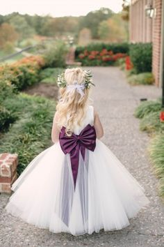 purple flower girl, flower girl crown, tulle skirt  from purple jewel toned romantic Riverbend Golf and Country Club Virginia wedding with Kristen Gardner Photographer