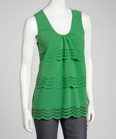 Take a look at this Kelly Green Eyelet Scoop Neck Tank by Simply Irresistible on #zulily today!