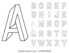 Alphabet Design, Hand Lettering Alphabet, Lettering Styles, Lettering Design, Lettering Practice Sheets, Illusion Drawings, Optical Illusions Drawings, Geometric Font, Journal Fonts