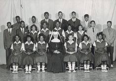 Sister Guadalupe with a class from Cardinal Gibbons High School in Ridge MD in the late 50s.