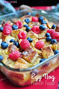 Overnight Eggnog French Toast Casserole:  1/2 cup (1 stick) butter  1 cup packed brown sugar  2 tablespoons maple syrup  1 loaf French bread, cut into 1-inch cubes  Cinnamon  Nutmeg  8 eggs  2 cups prepared eggnog  1 teaspoon vanilla