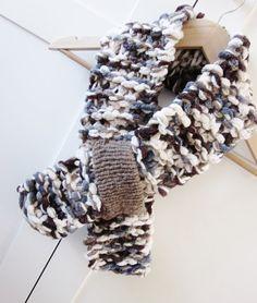 Scarf handknit Brown Grey Cream Ladies Scarf Womens by OnePurlRow