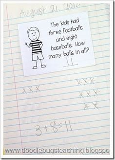 Doodle Bugs Teaching {first grade rocks!}: Math Centers - math interactive notebooks - daily word problems