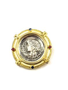 Ancient Roman Coin Brooch 10k Gold Yellow Gold Sterling