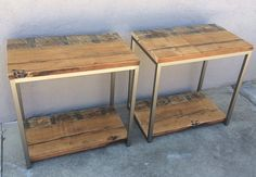 Reclaimed Wood End Tables Rustic / Modern / by KageDesignStudio