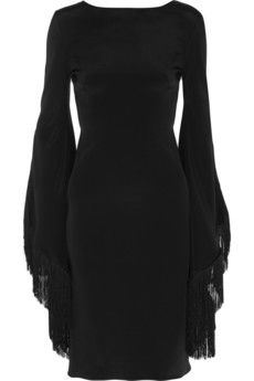 Haney black fringed dress #black #fashion #style