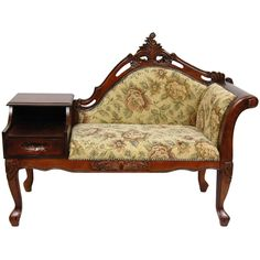 Oriental Furniture Queen Victoria Chaise Lounge with Table, Golden Flowers