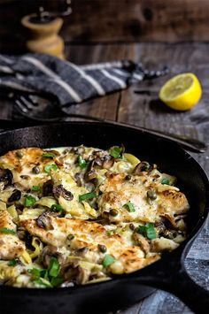 Chicken scallopini with mushrooms and artichokes, in lemon butter sauce, smoky pancetta and capers - this is simply the best chicken scallopini recipe!