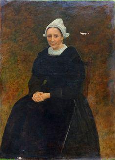 Grand portrait de femme cornette de Concarneau Huile XIXème siècle Bretagne in Art, antiquités, Art du XIXème, et avant, Peintures, émaux | eBay