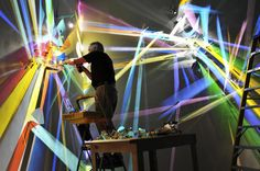 Stephen Knapp has been making work that is transformed by light for over thirty years, producing vibrant light installations he refers to as paintings. These large-scale works utilize minimal tools, harnessing simply light and dichroic glass to throw a multitude of colors against the walls and room.
