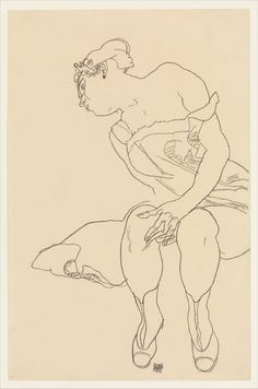 'seated woman in corset and boots' by egon schiele