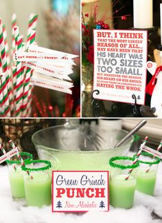 green grinch punch and printed quote for a tacky christmas engagement party in july Tacky Christmas Party, Christmas Party Ideas For Teens, Whoville Christmas, Tacky Christmas Sweater, Grinch Stole Christmas, Xmas Party, Christmas Holidays, Tacky Sweater, Half Christmas