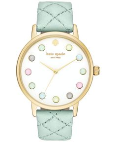 kate spade new york Women's Metro Grand Mint Splash Leather Strap Watch 38mm KSW1096