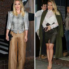 Alguns looks lindos e inspiradores da Hilary Duff!✨ Primeiro um mix de blusa preta e branca com pantalona pastel. Segundo uma combinação de casaco e saia verdes com blusa de renda branca, clutch metálica e scarpin nude. #creative #fashion #style #hilaryduff