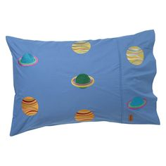 SPACED OUT EMBROIDERED COTTON SINGLE PILLOWCASE