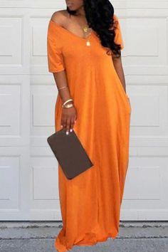 Casual Pockets Design Floor Length Dress, Plus Size Outfit – narachic. Mode Kimono, Floor Length Dresses, V Neck Dress, Tee Dress, Coat Dress, Halter Neck, Denim Fashion, Fashion Coat, Plus Size Fashion