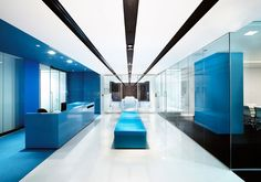 Office Reception blue and white reception area in an office Bank Interior Design, Corporate Interior Design, Corporate Interiors, Office Interiors, Office Entrance, Office Lobby, Office Reception, Reception Design, Law Office Design