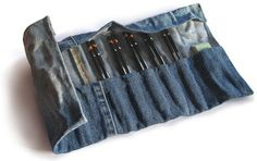recycled denim pencil / paintbrush / tool roll