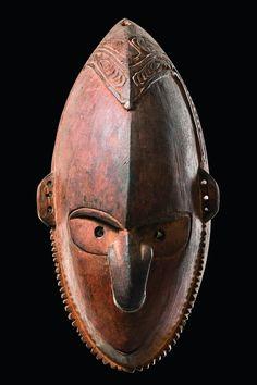 Mask of an ancestor spirit, Papua New Guinea - Sepik | wood, reddish brown patina, traces of black paint | Read more: http://www.tribal-art-auktion.de/en/all/search_New+Guinea/d10_1/#o3037820#ixzz3FbMGeD4d