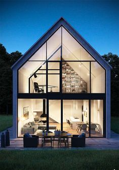 Anyone who is thinking about building a house always seeks all possibilities to unite good price, quality and beauty. Modern Barn House, Modern House Design, Future House, Design Exterior, Bauhaus, Building A House, Architecture Design, House Plans, New Homes