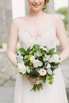 Eucalyptus, berries and roses: http://www.stylemepretty.com/2015/06/03/ireland-destination-wedding-at-corcomroe-abbey/ | Photography: Katie Mallory - http://www.katimallory.com/