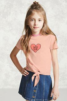 """Forever 21 Girls - A knit tee featuring a self-tie front hem, a """"Sassy Club"""" heart graphic on the front, a crew neck, and short sleeves."""