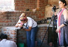 Natalie and Shahd from Project Just recording the process of block printing at Mehera Shaw. Ethical Fashion, Fair Trade, Print Design, Organic Cotton, Artisan, Printing, Studio, Clothes, Outfits