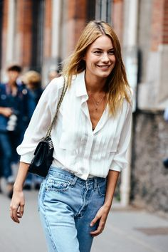 light denim and pleat front