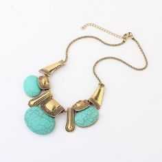 $4.73 Bohemian Chic Style Oval Rammel Pendant Decorated Irregular Alloy Necklace For Women
