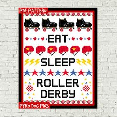 Roller derby cross stitch pattern This chart uses only whole cross stitches and minimal back stitch so is suitable for all levels of stitchers. This