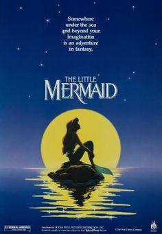 The Little Mermaid - Movie Poster print - or - Walt Disney Cartoon - Disney animation - Childs room Girls room decor - Ariel Walt Disney Animated Movies, Animated Movie Posters, Disney Movie Posters, Disney Pixar, Original Movie Posters, Disney Films, Disney Cartoons, Disney Art, Disney Characters