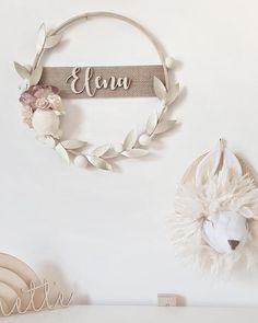 Flower Name Sign Wreath Custom To Order Make your wall beautiful with this soft and boho floral wreath! Perfect for any room! The base is a natural wooden hoop made of artificial flowers and pom poms. Color scheme: blush pink, ivory, off white and champa Artificial Bridal Bouquets, Artificial Flowers, Diy Fall Wreath, Summer Wreath, Couronne Diy, Paint Your House, Flower Names, Nursery Name, Wooden Hoop
