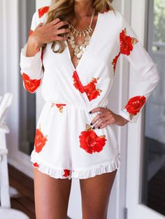 White Deep V Floral Long Sleeve Flounce Hem Romper Playsuit